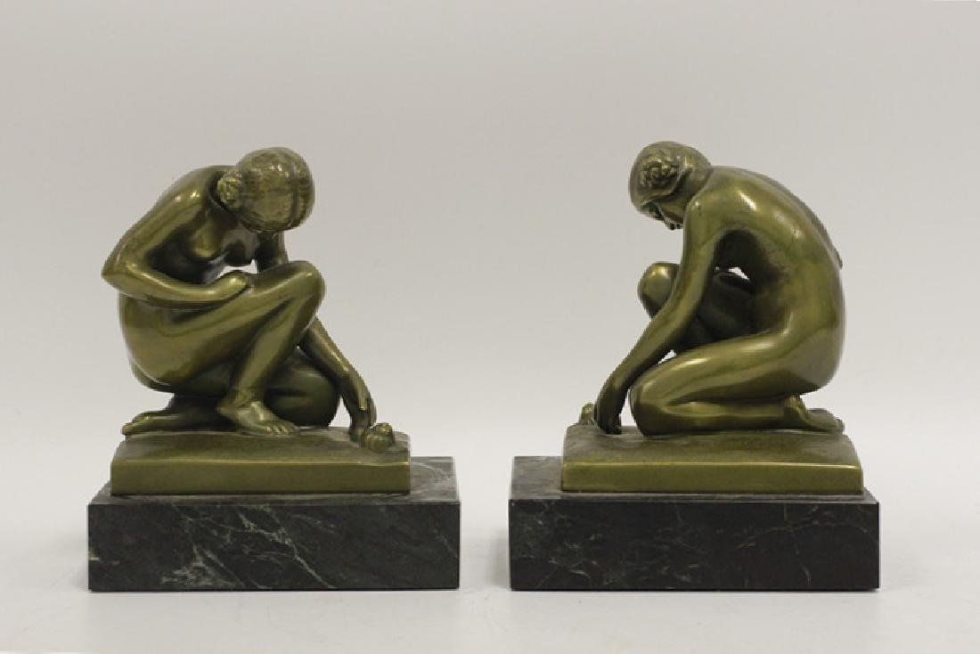 Pair of Bronze & Marble Bookends - 2