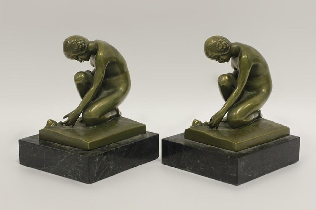 Pair of Bronze & Marble Bookends - 3
