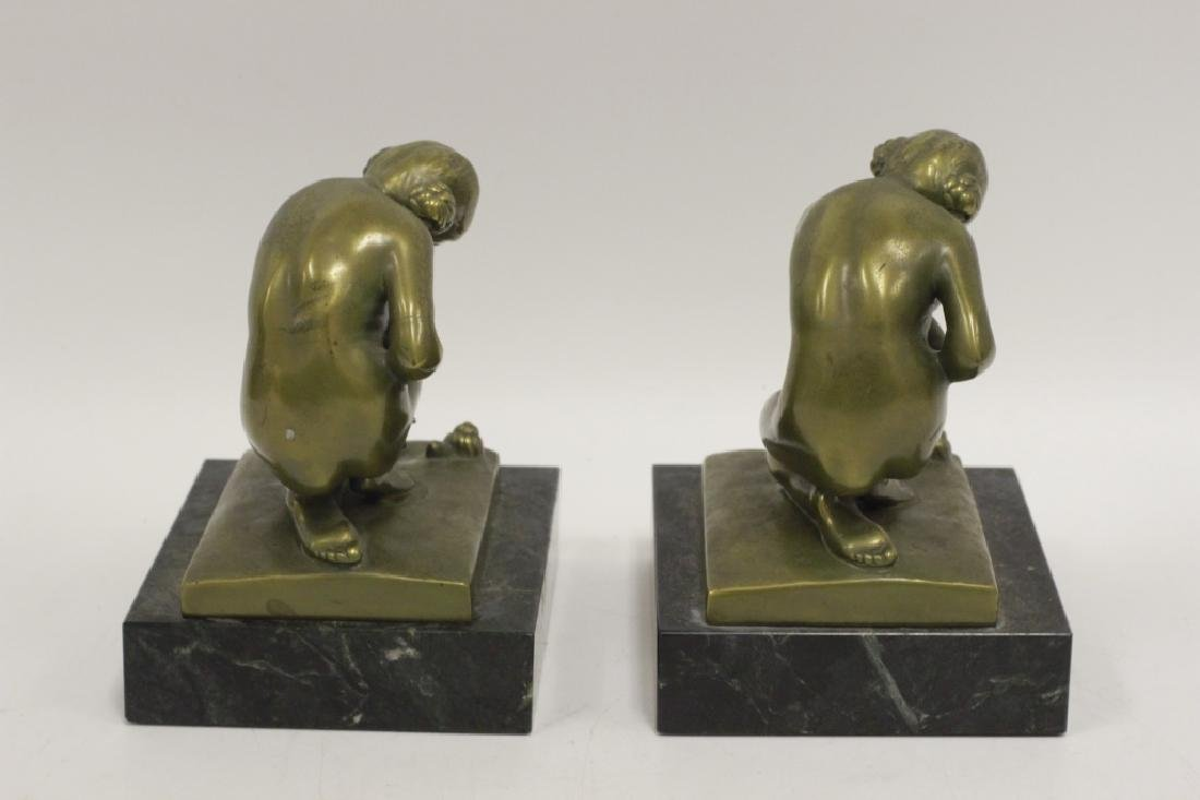 Pair of Bronze & Marble Bookends - 4