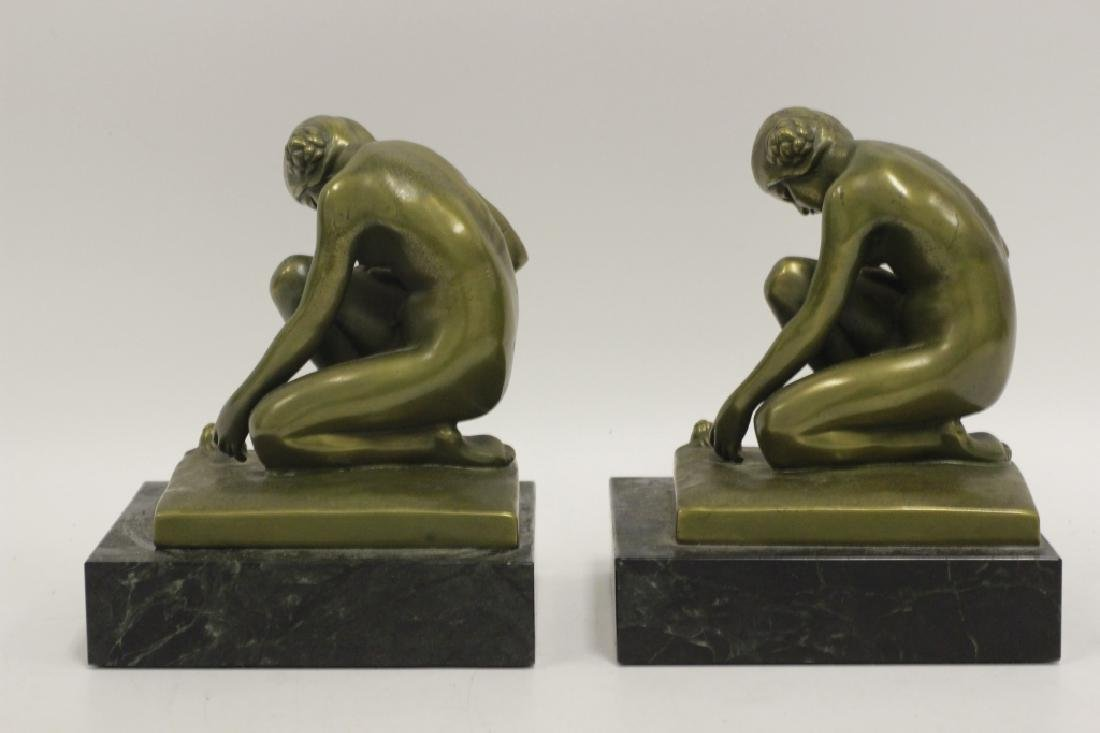 Pair of Bronze & Marble Bookends - 5