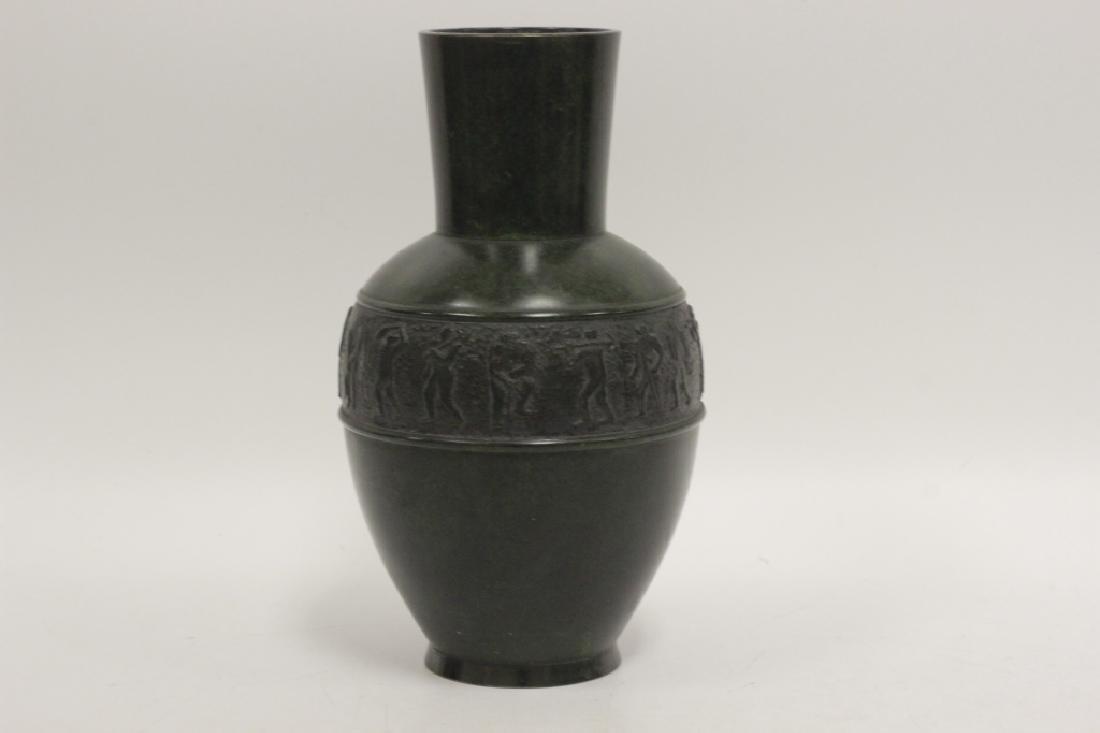 Art Deco Bronze Dark Green Vase