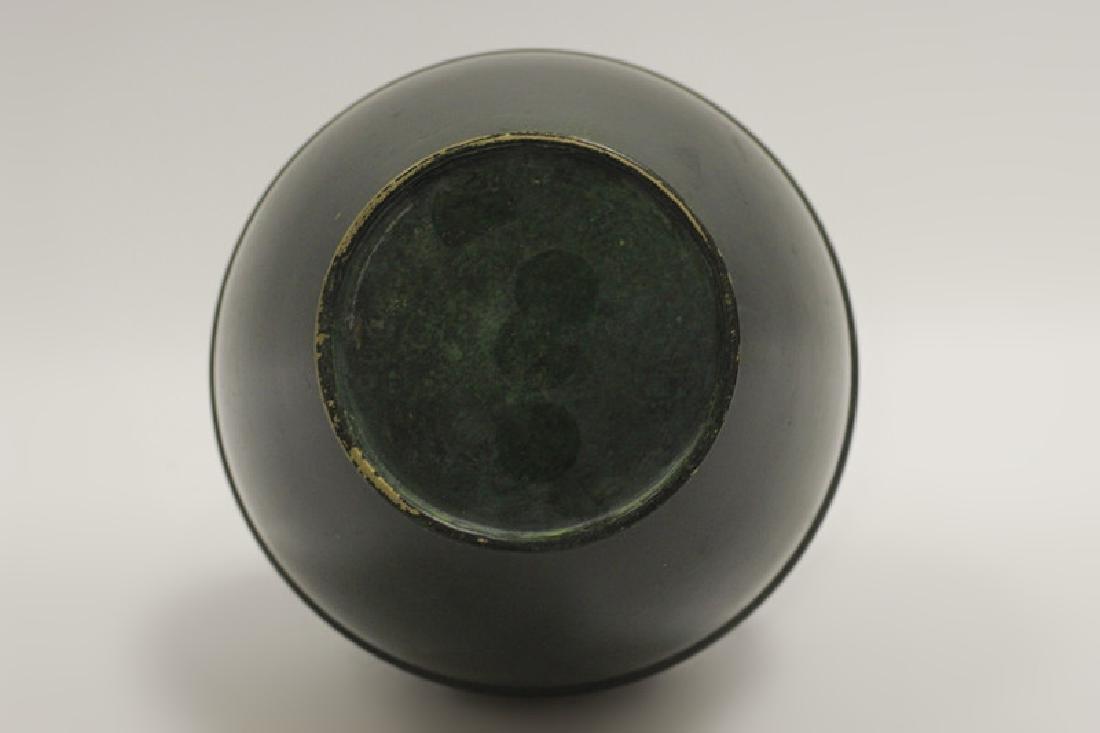 Art Deco Bronze Dark Green Vase - 4