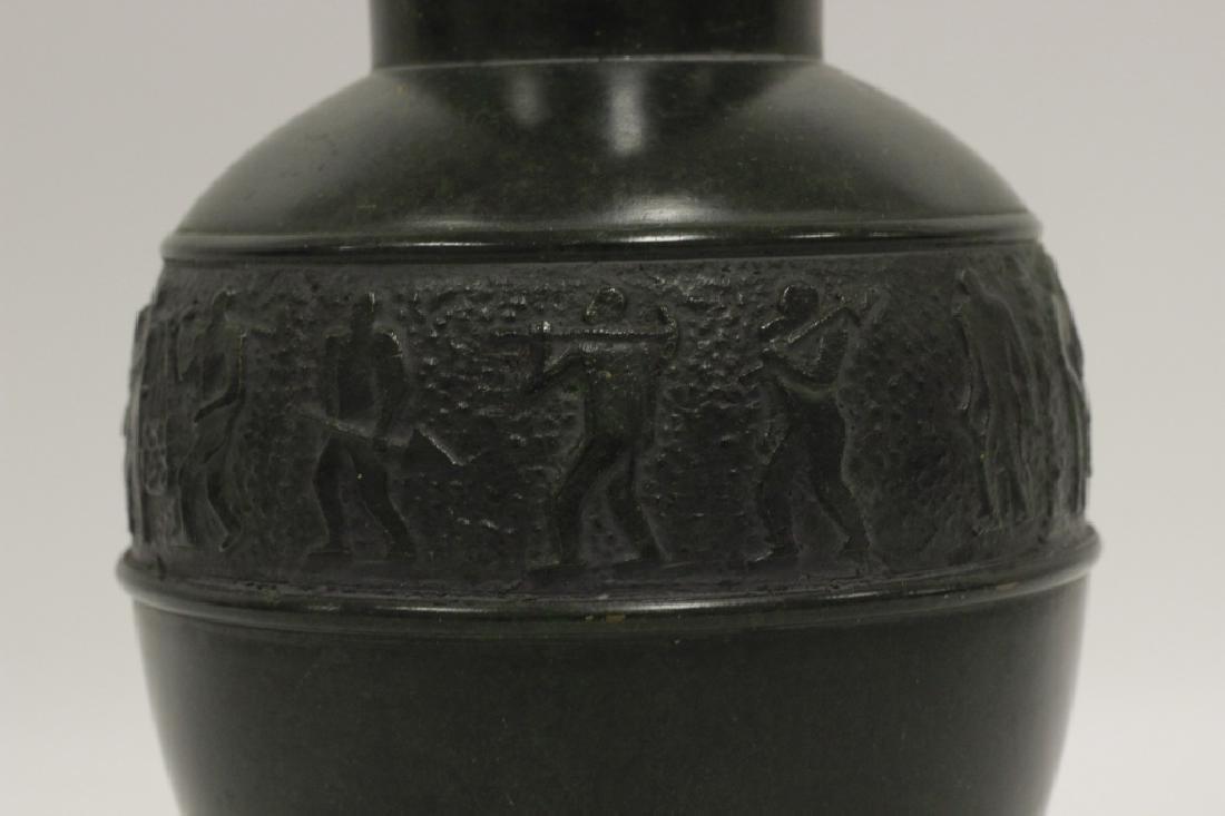 Art Deco Bronze Dark Green Vase - 5