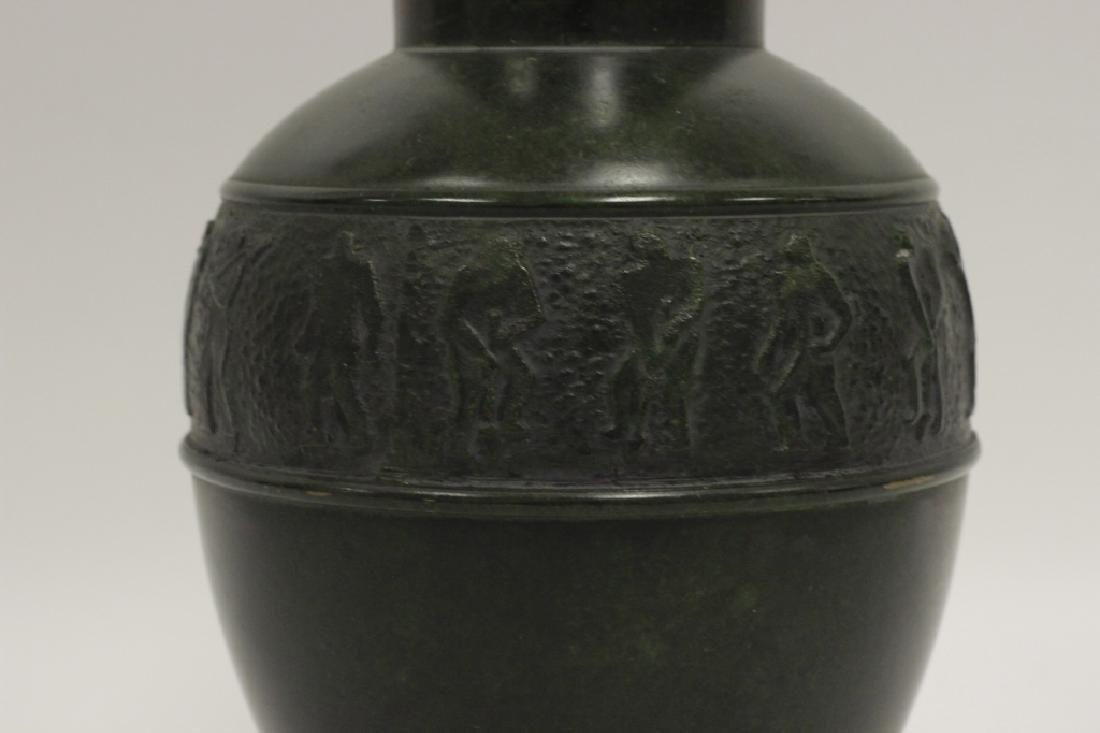Art Deco Bronze Dark Green Vase - 6