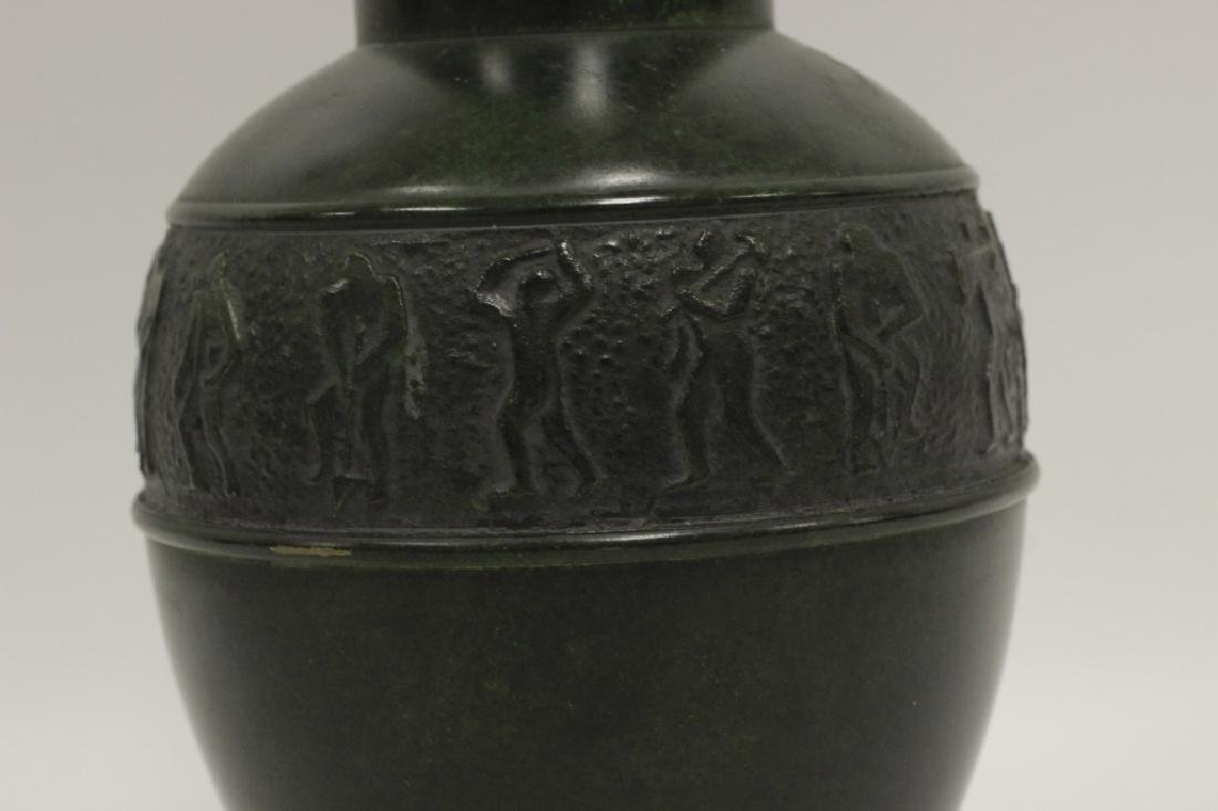 Art Deco Bronze Dark Green Vase - 7
