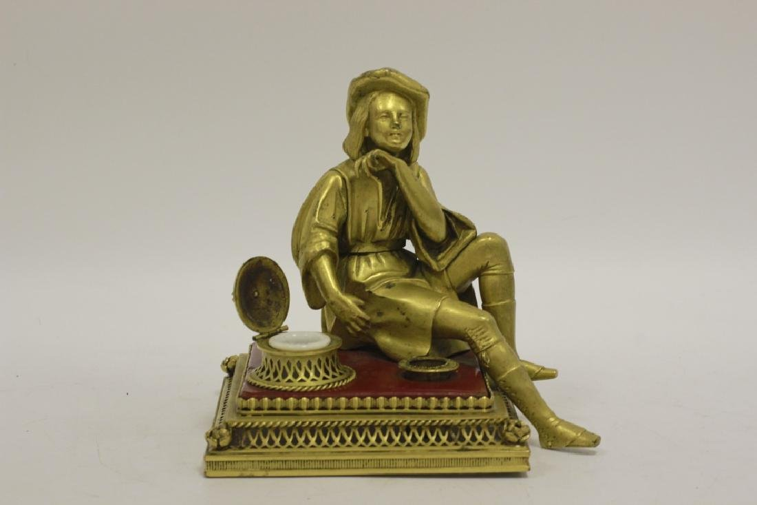 Early 20thc Bronze & Lacquered Wood Inkwell