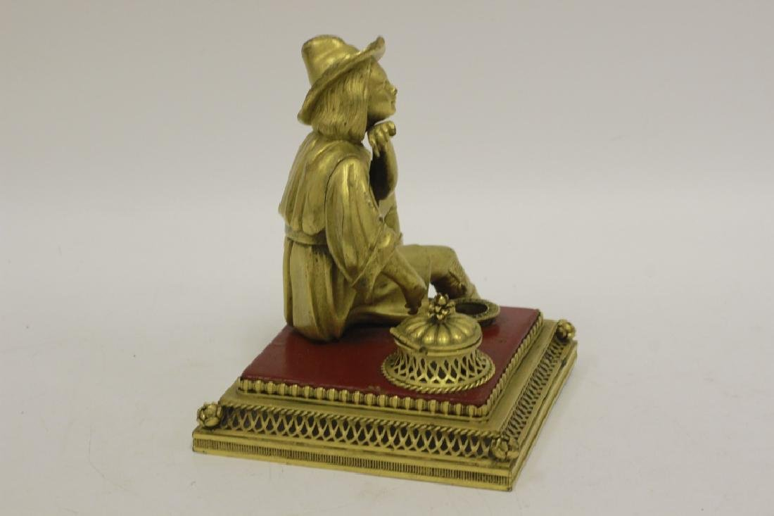 Early 20thc Bronze & Lacquered Wood Inkwell - 6