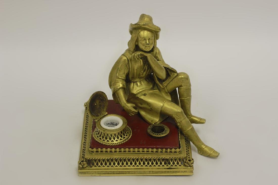 Early 20thc Bronze & Lacquered Wood Inkwell - 7