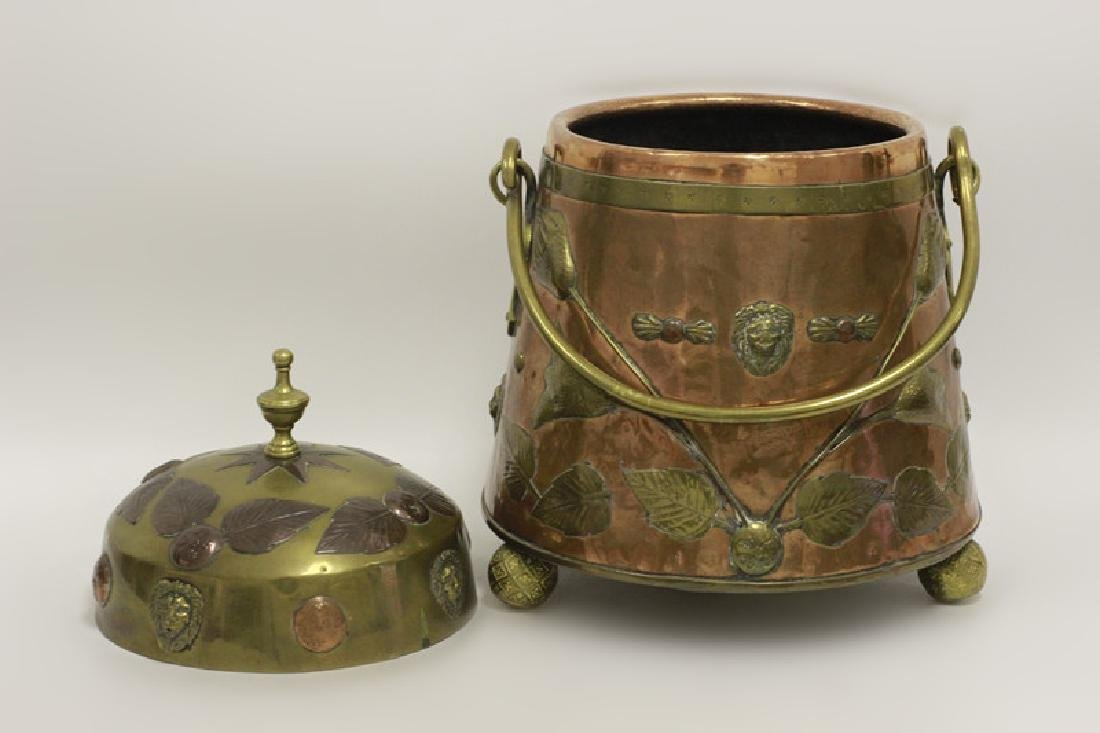 Large Arts & Crafts Copper & Brass Bucket - 5
