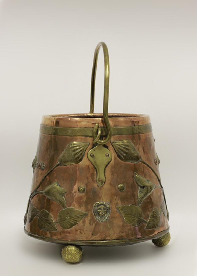 Large Arts & Crafts Copper & Brass Bucket - 6