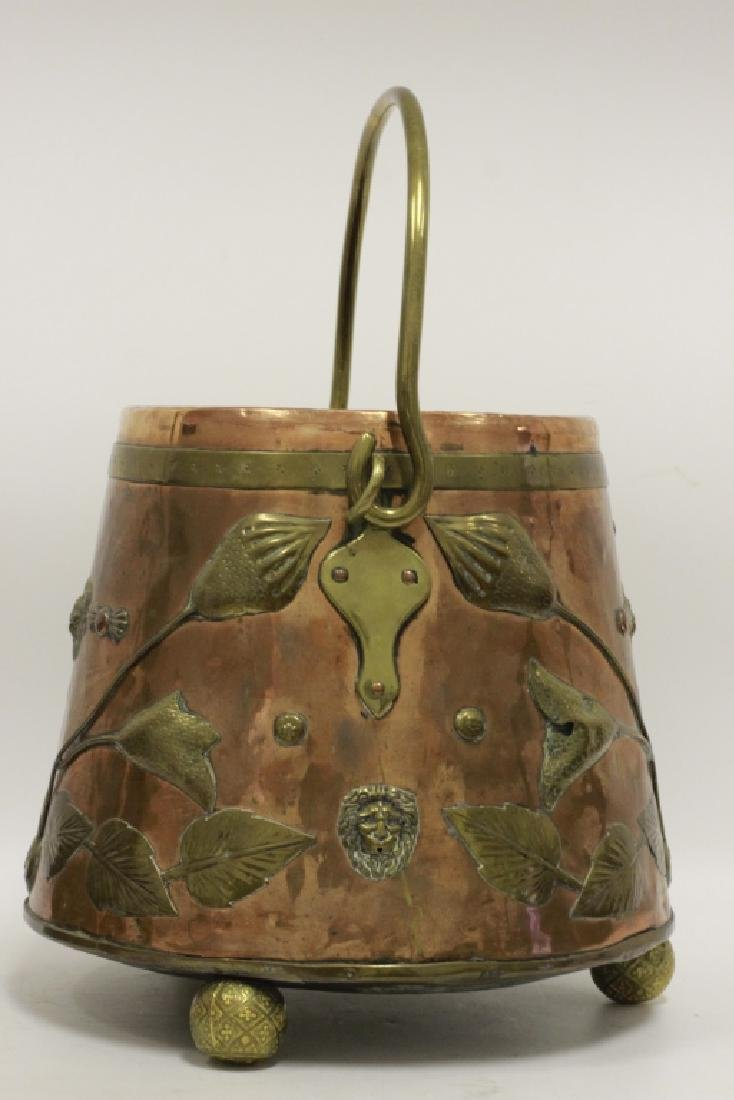 Large Arts & Crafts Copper & Brass Bucket - 7