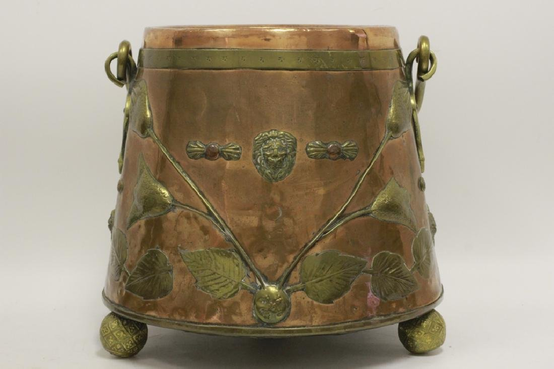 Large Arts & Crafts Copper & Brass Bucket - 9