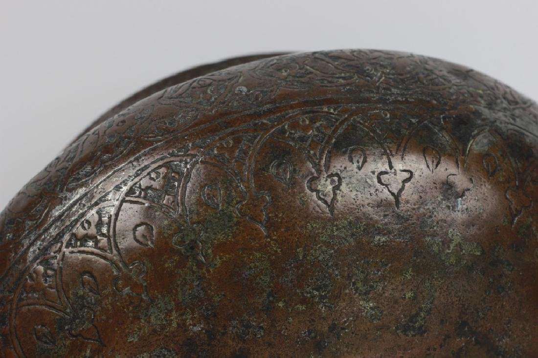 19thc Qajar Period Persian Bronze Bowl - 5