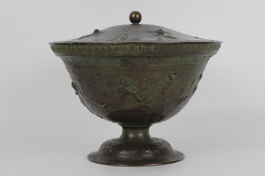 Late 19thc Early 20thc Bronze Covered Bowl