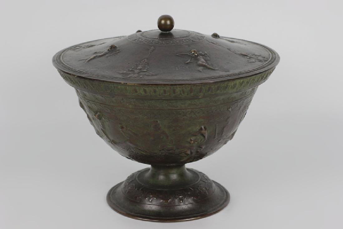 Late 19thc Early 20thc Bronze Covered Bowl - 2
