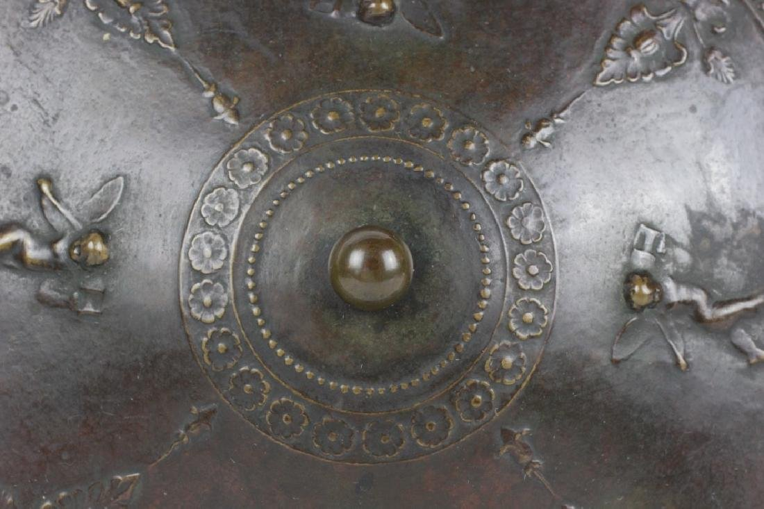 Late 19thc Early 20thc Bronze Covered Bowl - 7