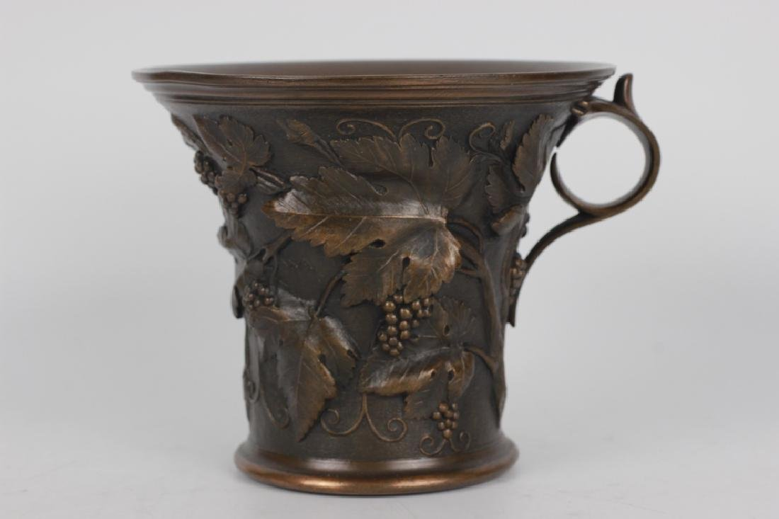 Large Bronze English Cup Signed Elkington & Co - 2