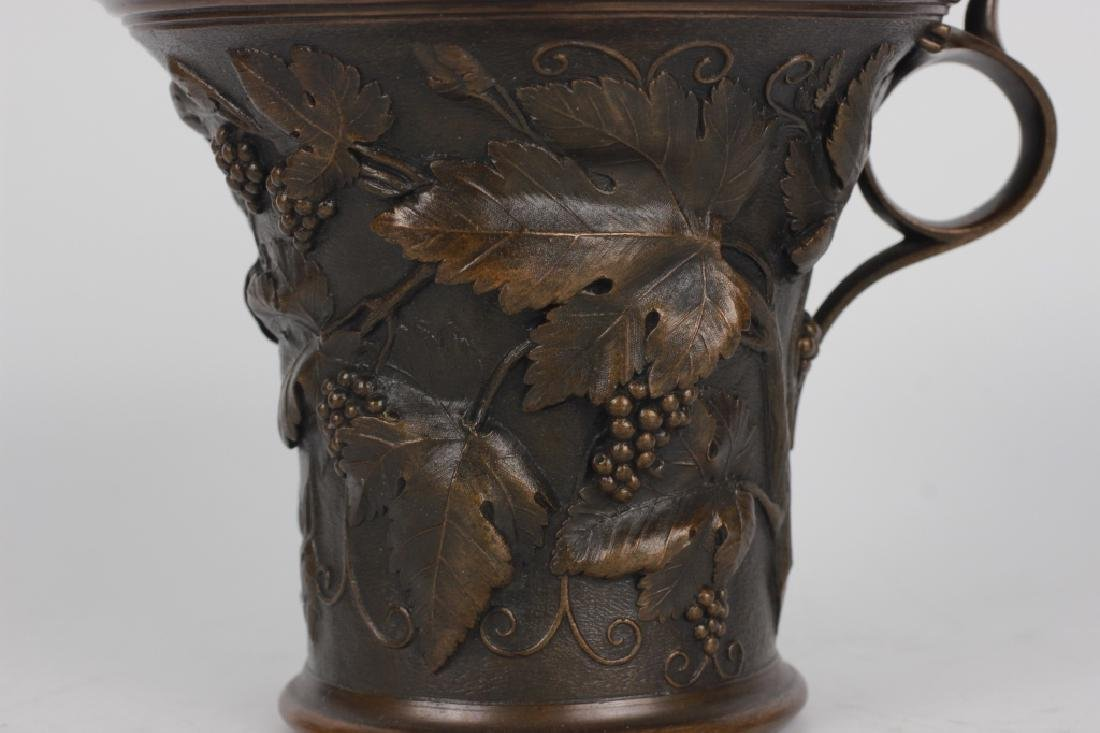 Large Bronze English Cup Signed Elkington & Co - 6