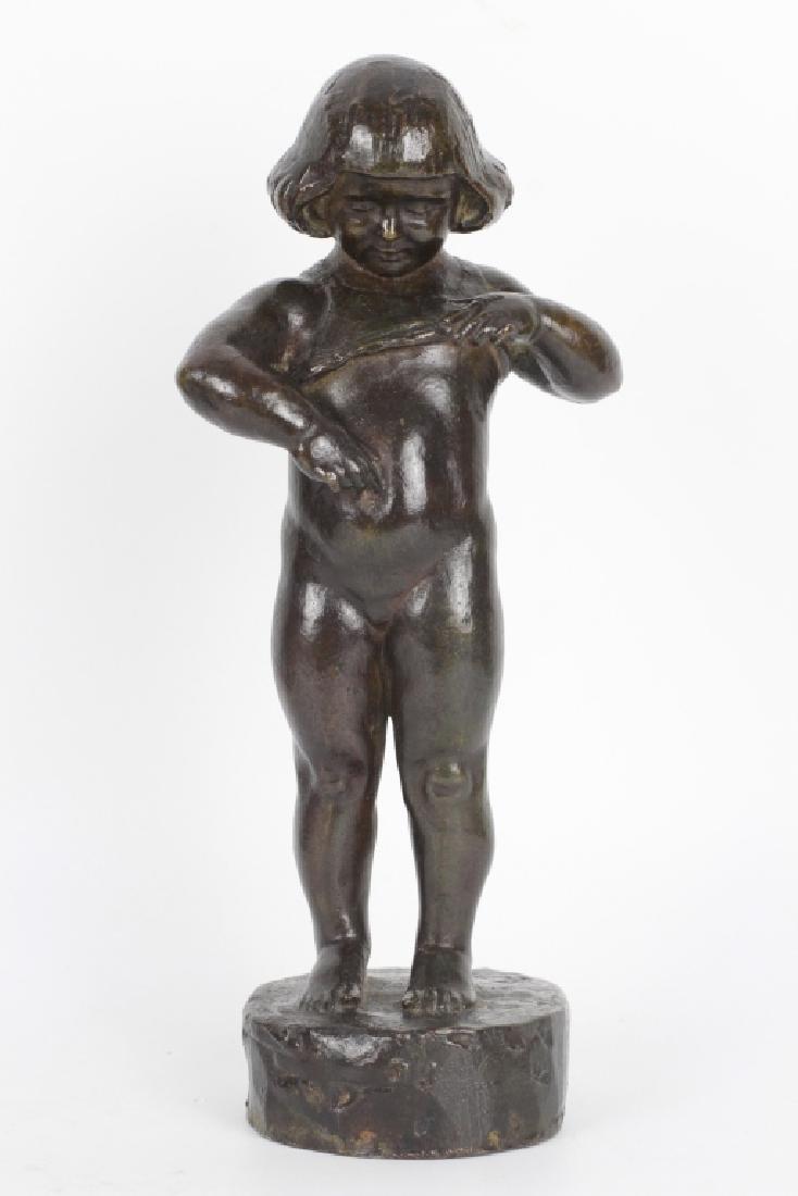 Bronze Figure of a Child, Signed F. Black