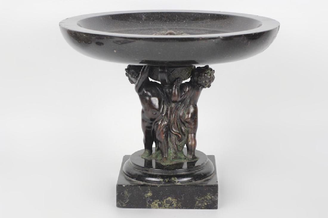 19thc Marble & Bronze Footed Compote