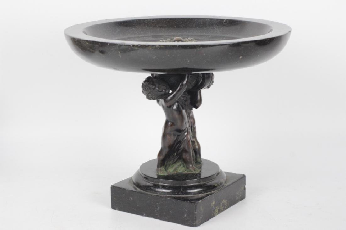 19thc Marble & Bronze Footed Compote - 2