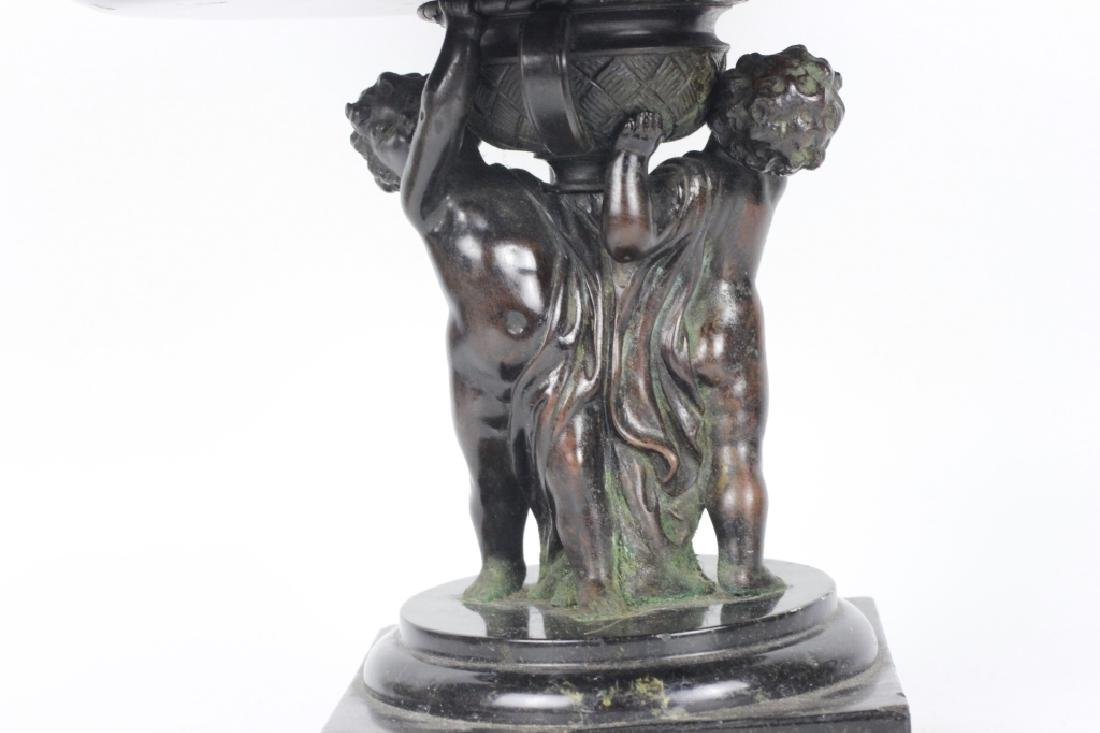 19thc Marble & Bronze Footed Compote - 8