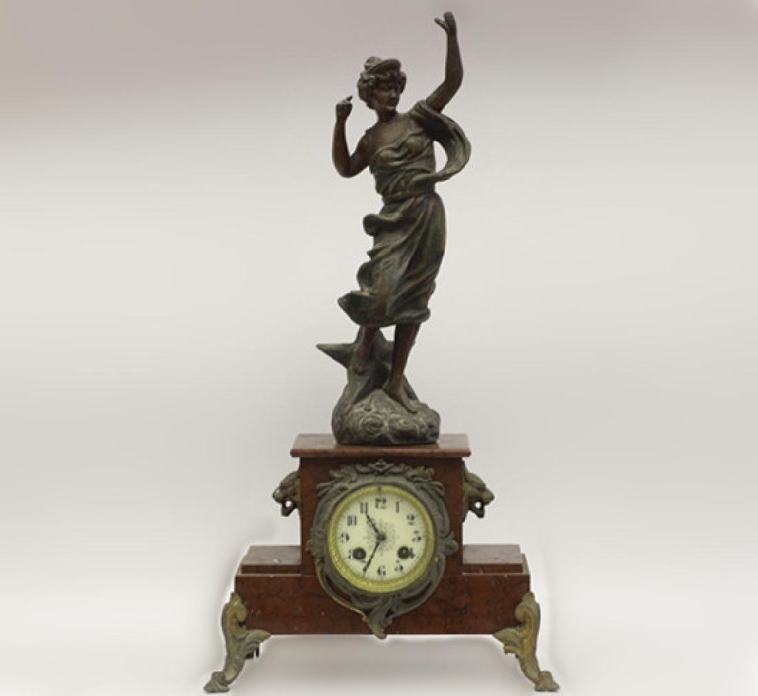 Marble Clock w/ White Metal Figural on Top