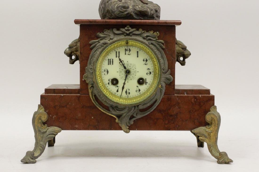Marble Clock w/ White Metal Figural on Top - 3