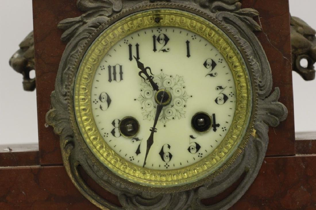 Marble Clock w/ White Metal Figural on Top - 4