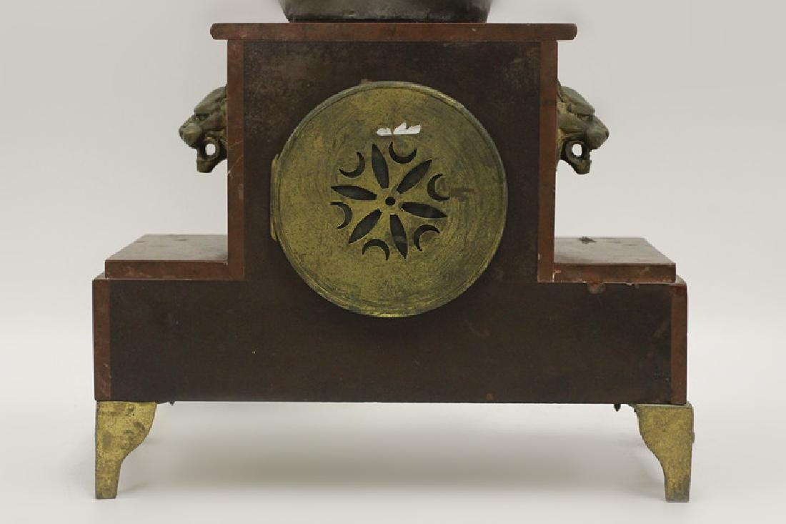Marble Clock w/ White Metal Figural on Top - 9