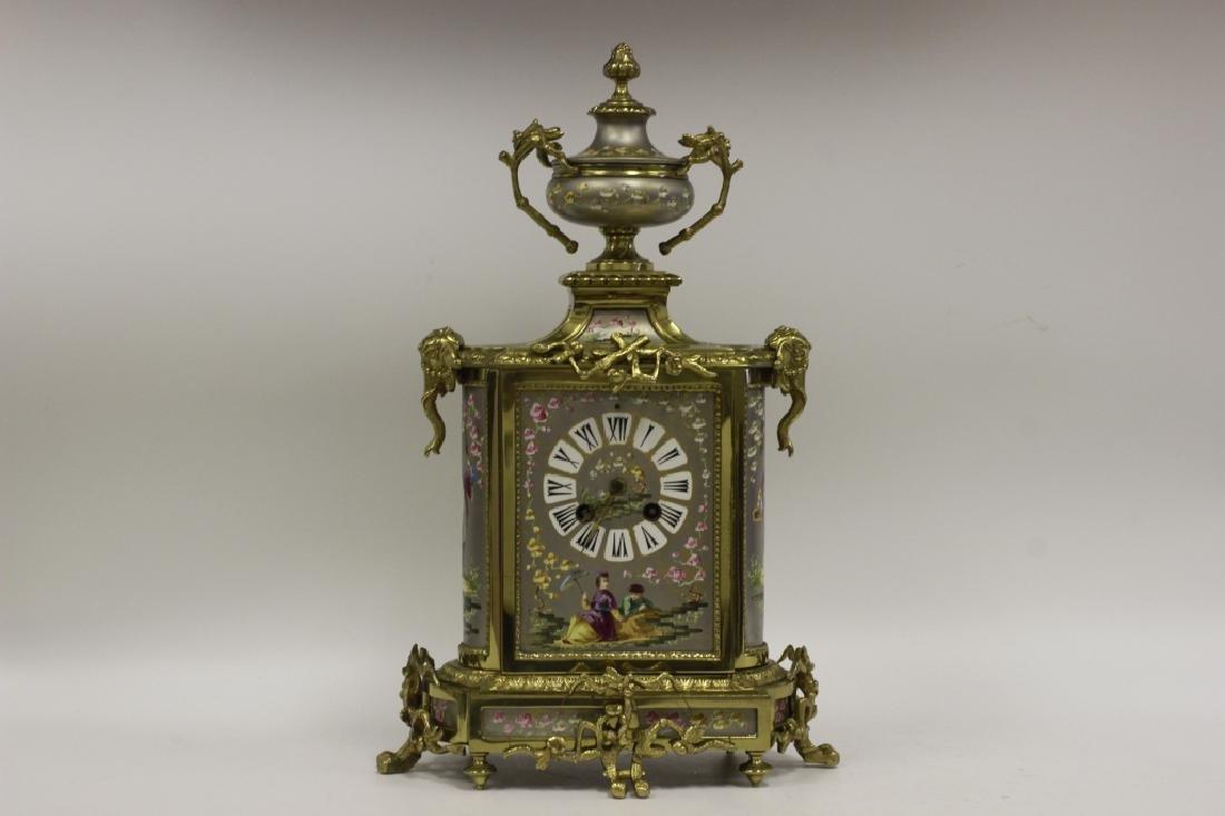 Unusual19thc Paris Porcelain Platinum Ground Clock