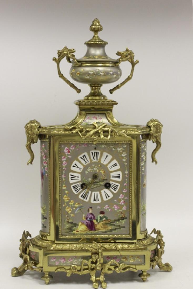 Unusual19thc Paris Porcelain Platinum Ground Clock - 2