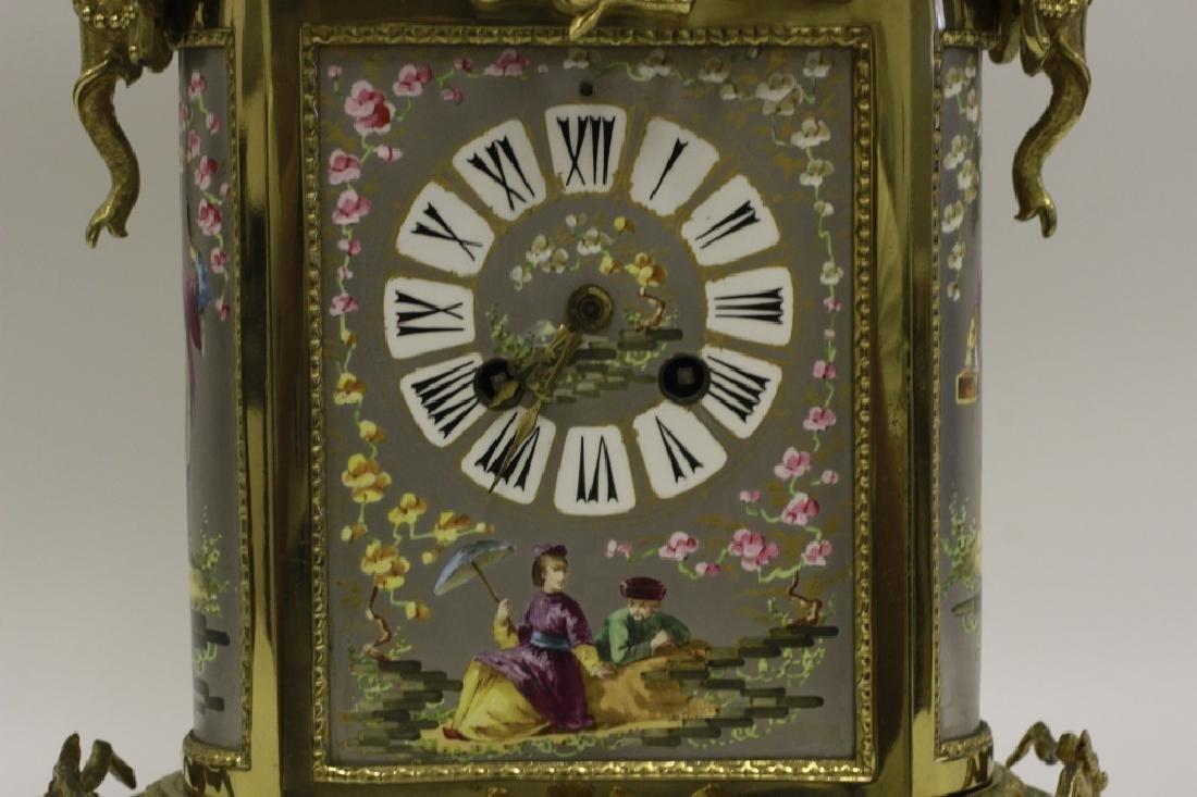 Unusual19thc Paris Porcelain Platinum Ground Clock - 5