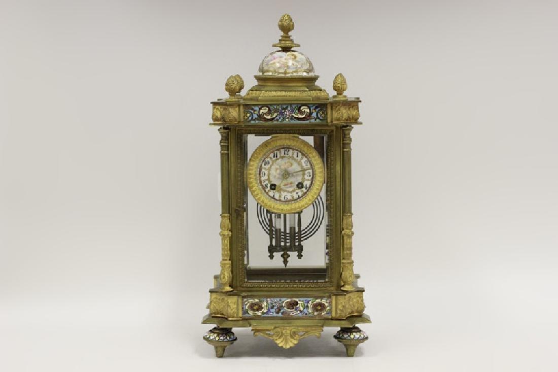 19thc Sevres Style Enamel Clock