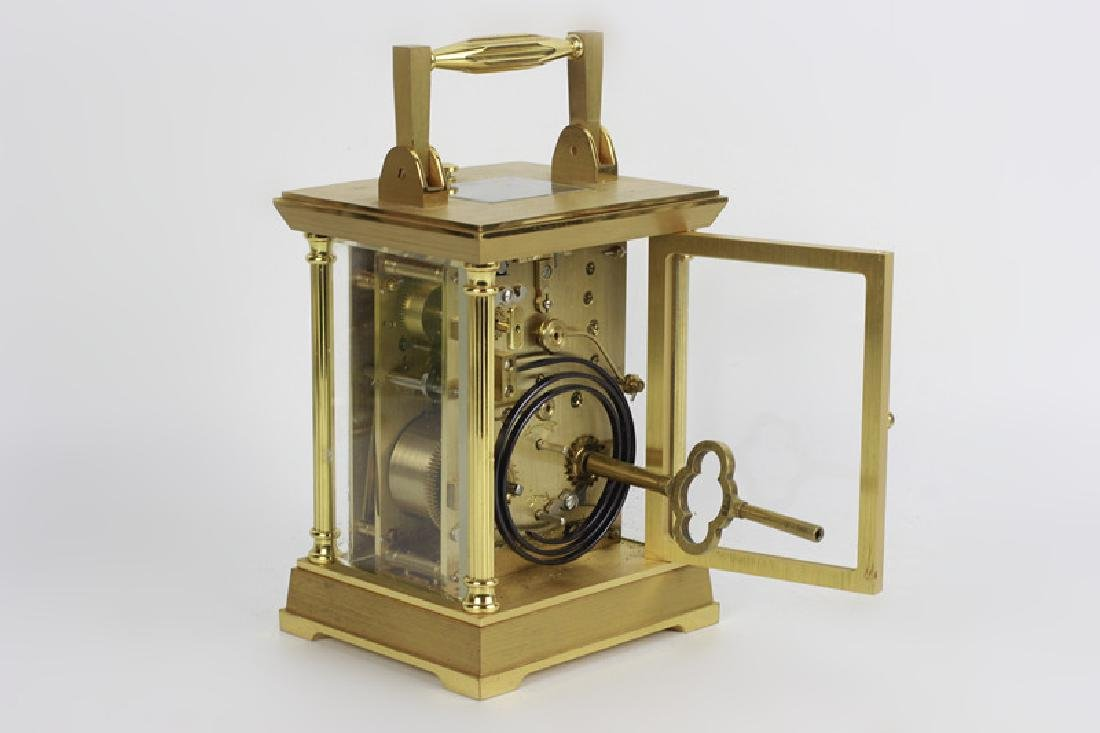 French 1960's Gilt Bronze Repeater Carriage Clock - 6
