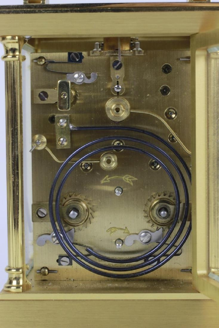 French 1960's Gilt Bronze Repeater Carriage Clock - 7