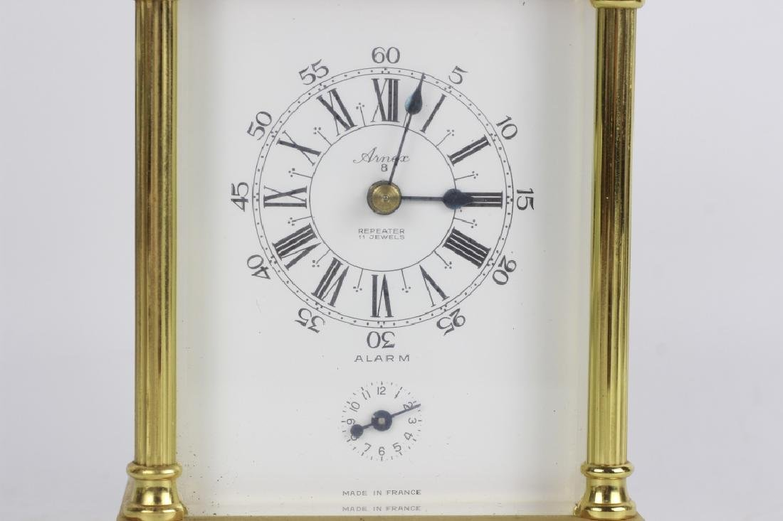 French 1960's Gilt Bronze Repeater Carriage Clock - 9