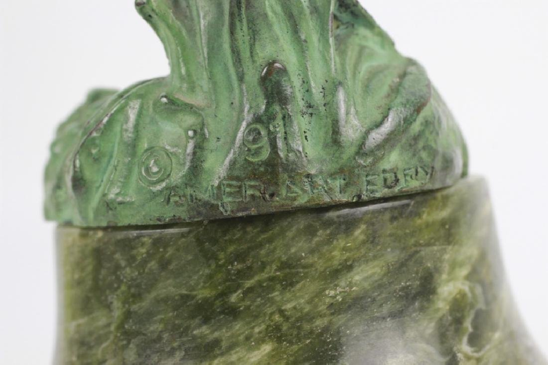 Old Bronze Green Boy on Green Marble Base - 10