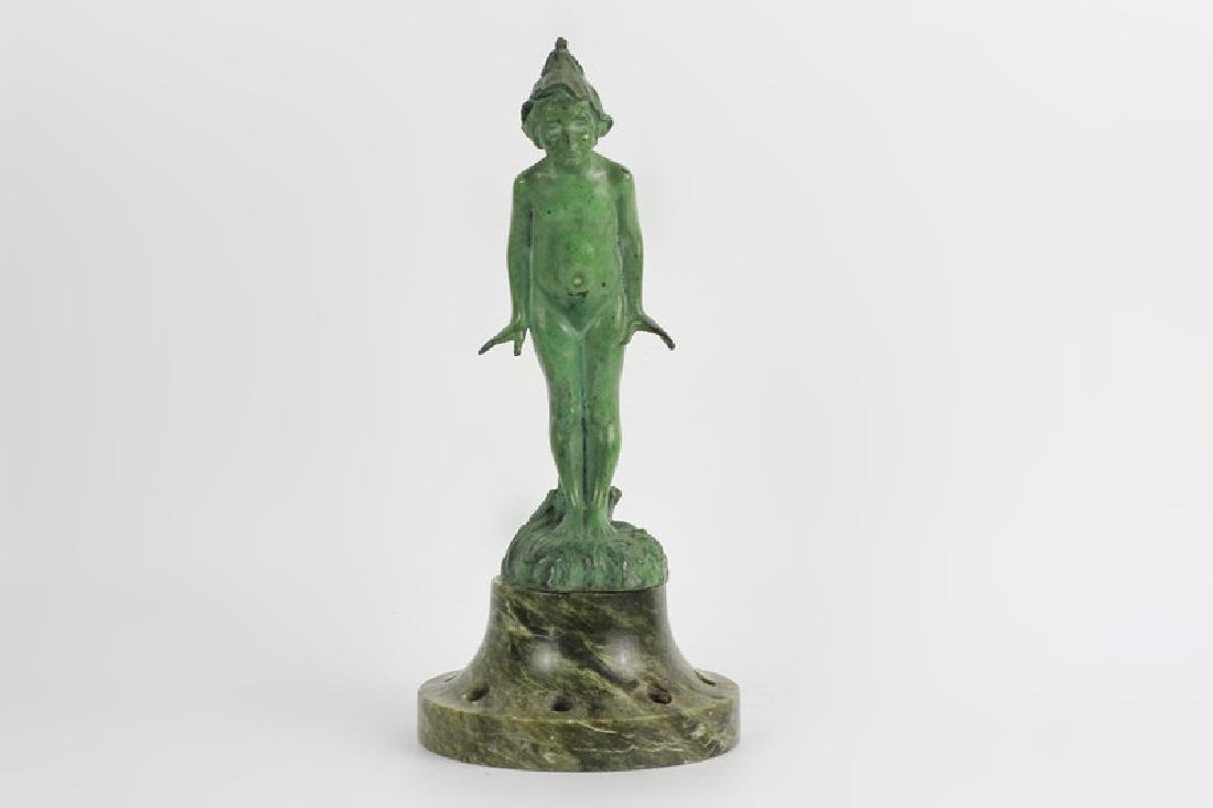 Old Bronze Green Boy on Green Marble Base