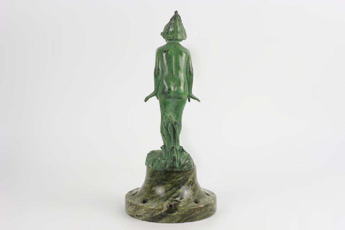 Old Bronze Green Boy on Green Marble Base - 2