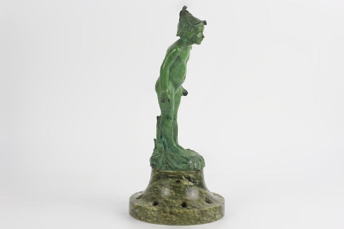Old Bronze Green Boy on Green Marble Base - 6