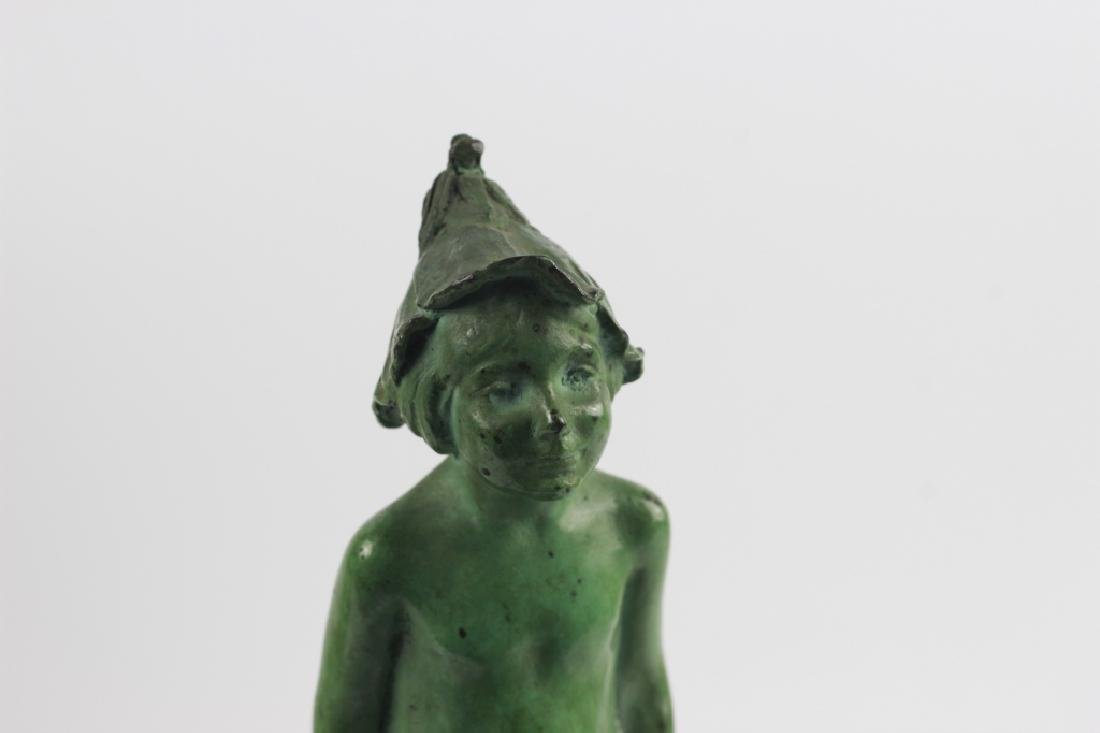Old Bronze Green Boy on Green Marble Base - 8