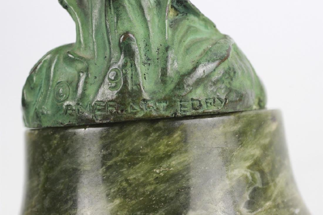 Old Bronze Green Boy on Green Marble Base - 9