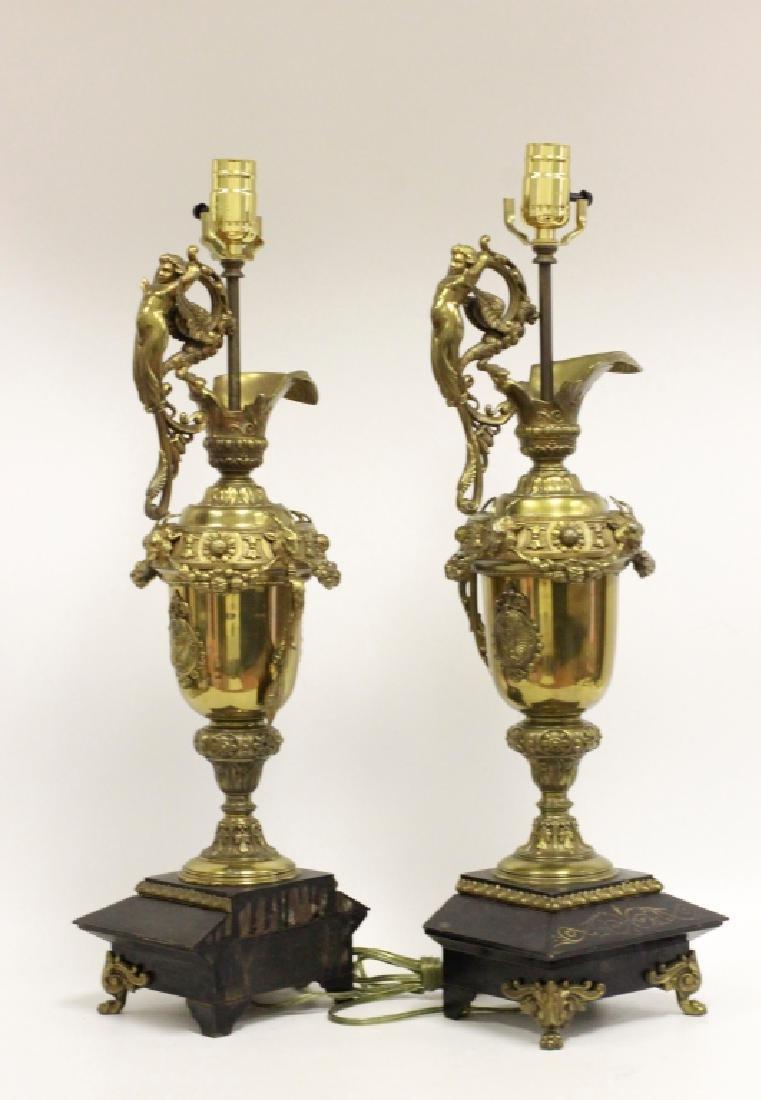 Pair of Italian Brass Ewer Lamps