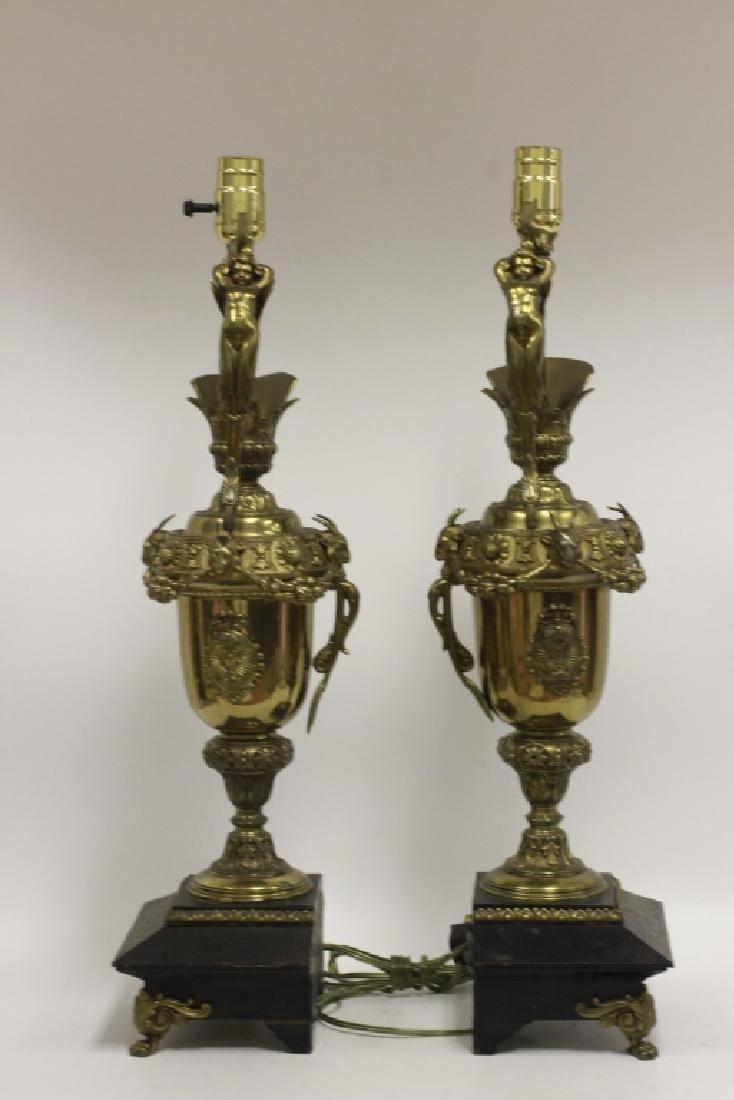 Pair of Italian Brass Ewer Lamps - 2