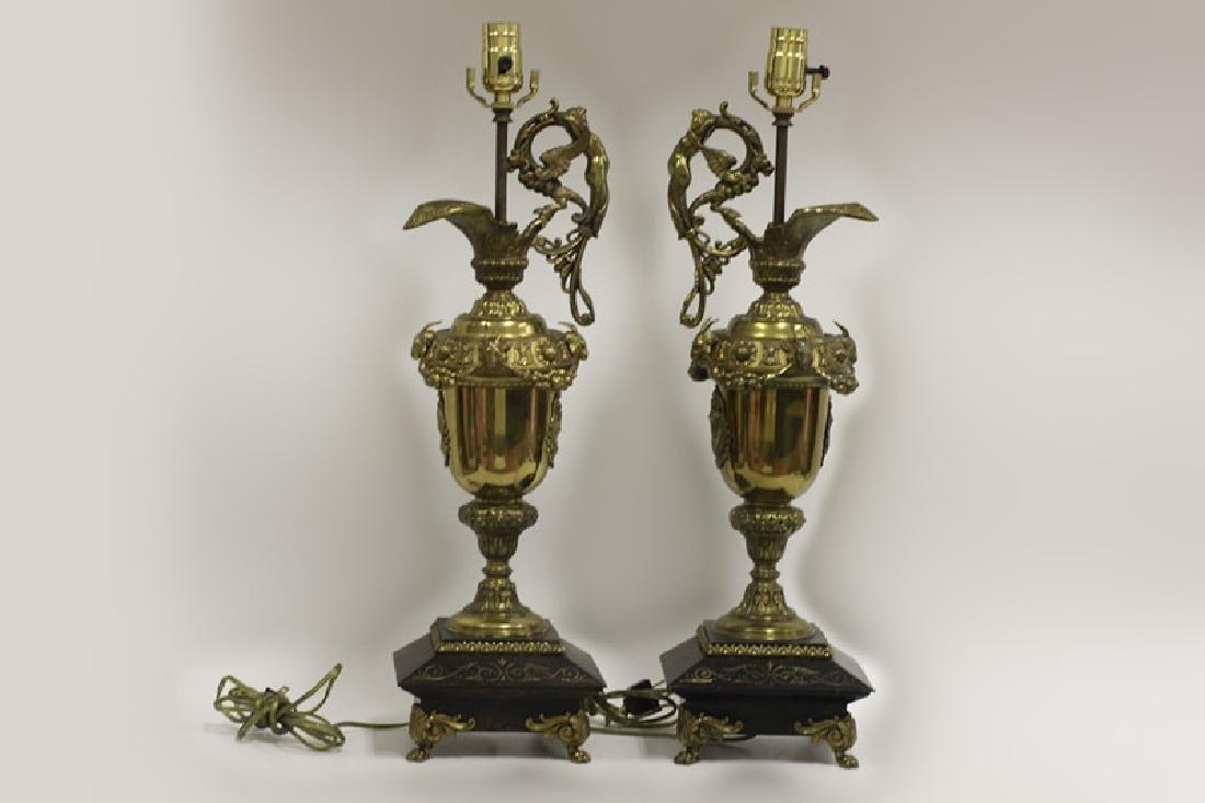 Pair of Italian Brass Ewer Lamps - 3