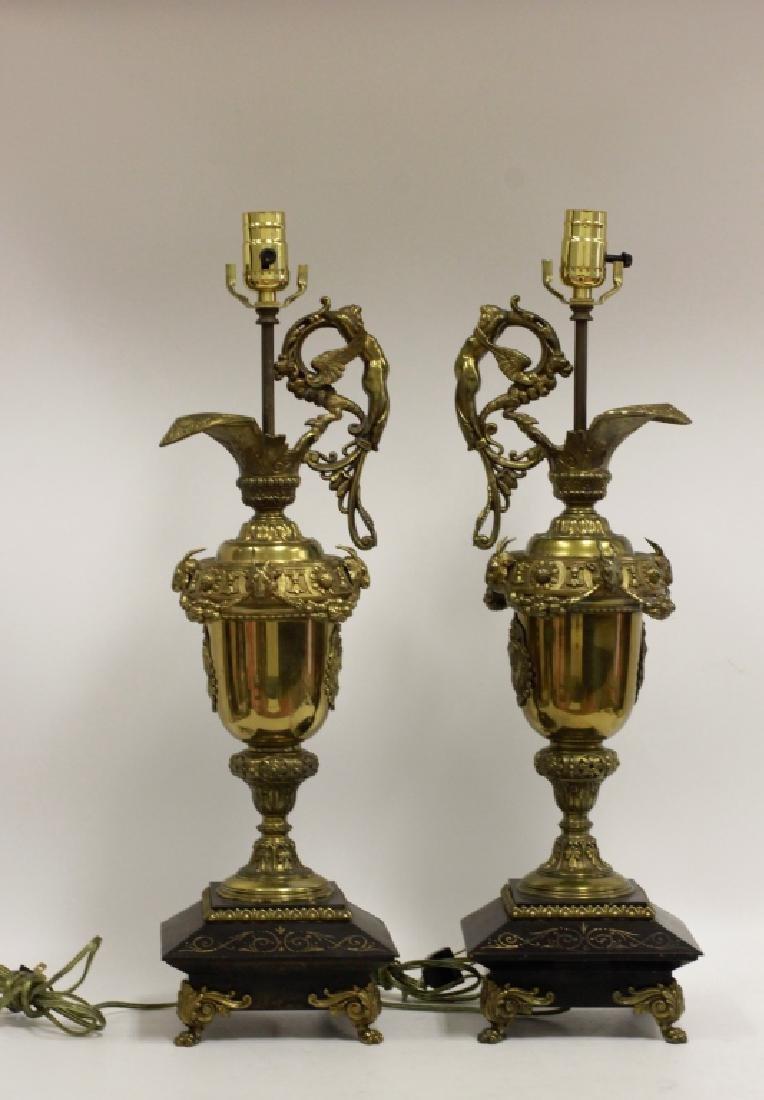 Pair of Italian Brass Ewer Lamps - 4