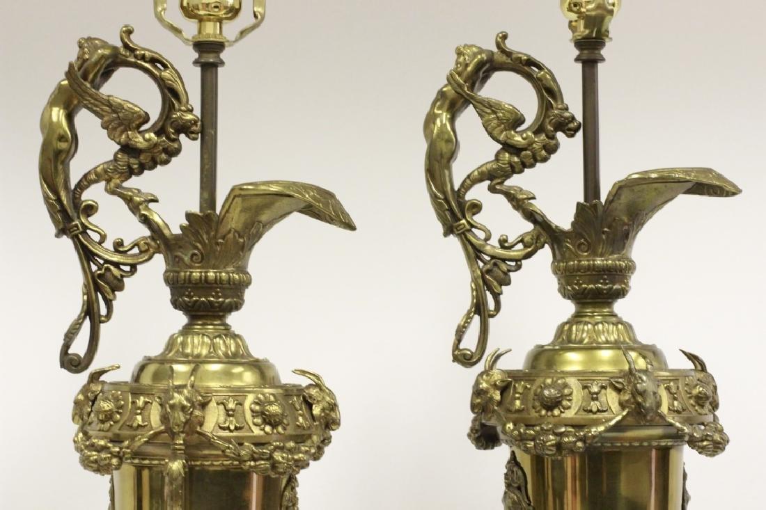 Pair of Italian Brass Ewer Lamps - 9
