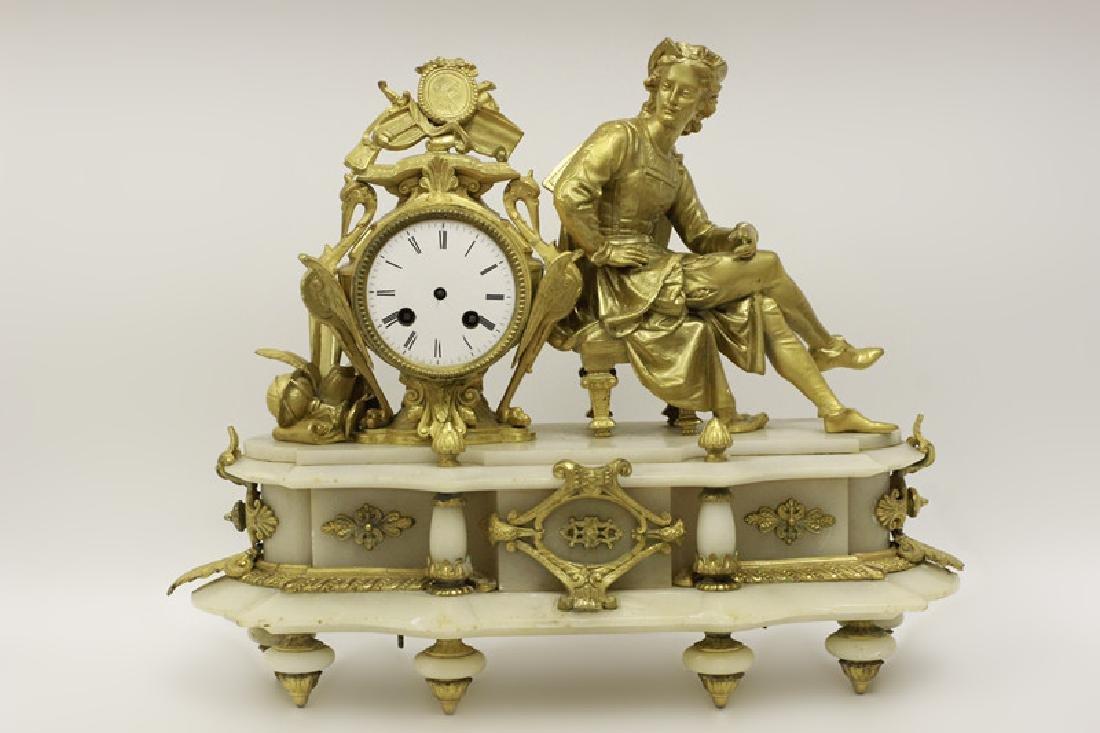 Gilded Metal & Alabaster Table Clock