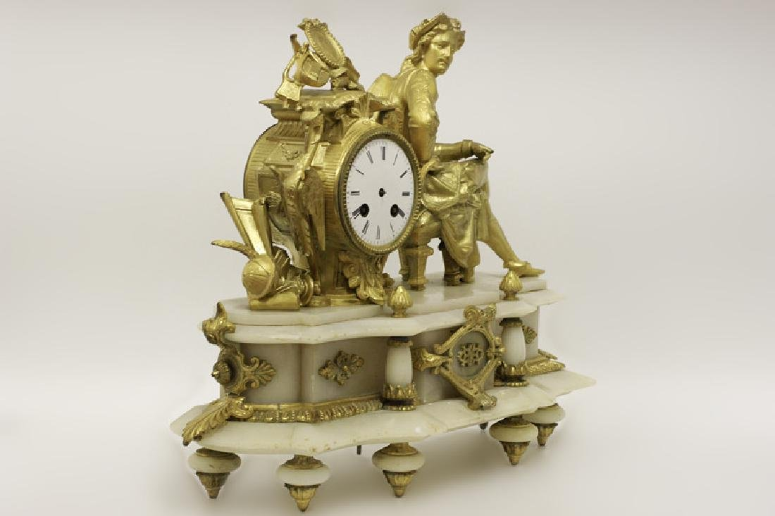 Gilded Metal & Alabaster Table Clock - 2